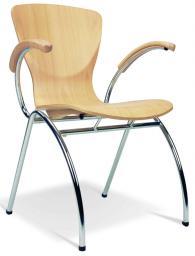 Посетителски стол BINGO arm wood chrome